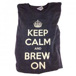 Keep Calm and Brew On T-Shirt - Red LARGE