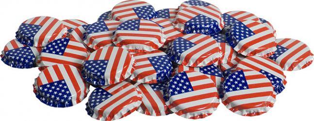 American Flag Bottle Caps (50)